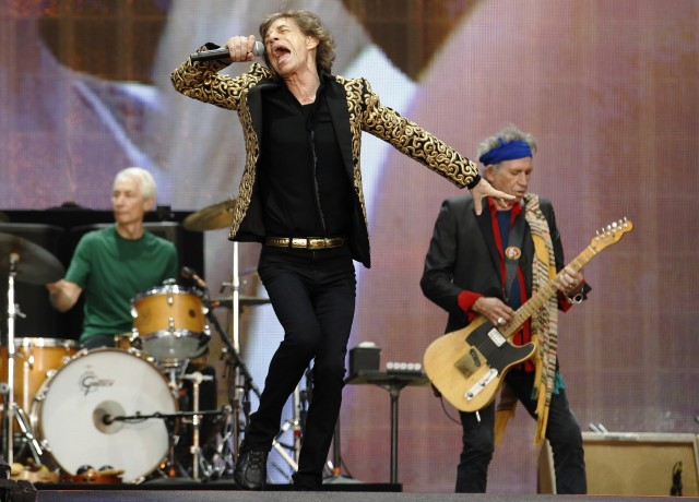 Drummer Charlie Watts, Mick Jagger and Keith Richards (R) of the Rolling Stones perform at the British Summer Time Festival in Hyde Park in London
