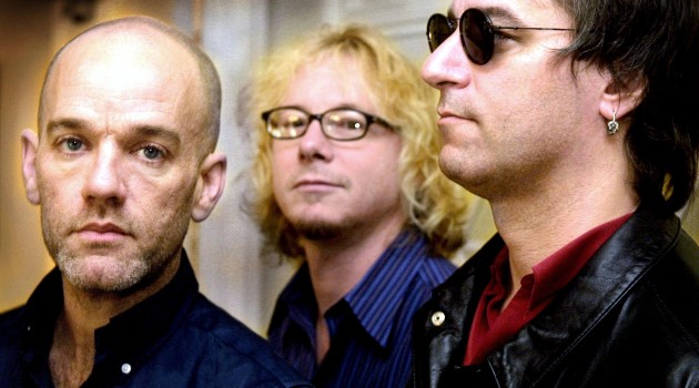 Members of the American rock group R.E.M from L Mi