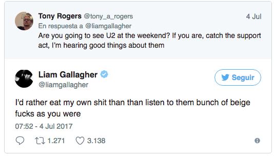 Liam Gallagher ataca a Noel por cantar con U2